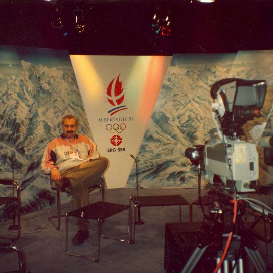 1992 Albertville Olimpiyat Oyunları (FRA) İsviçre SRG/SSR Televizyonu'nun Albertville stüdyosu