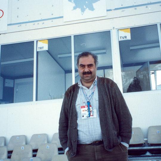 1992 Albertville Olimpiyat Oyunları (FRA) Kayakla atlama anlatım kabini önü