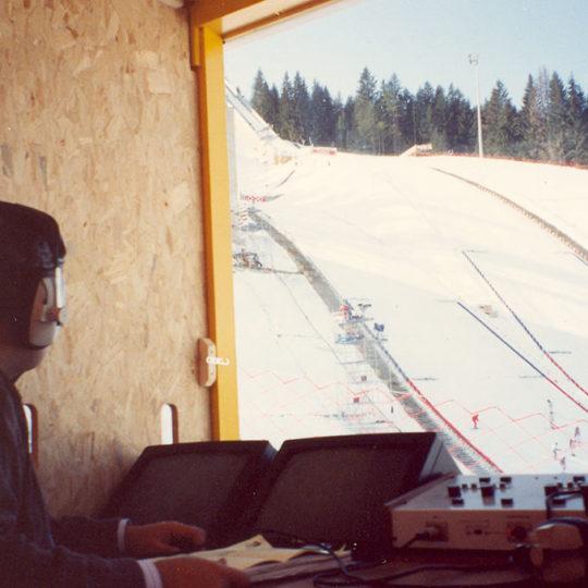 1992 Albertville Olimpiyat Oyunları (FRA) Albertville kayakla atlama anlatım kabini