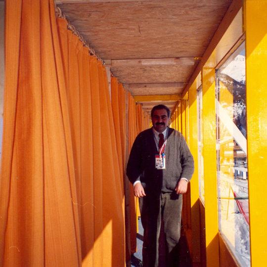 1992 Albertville Olimpiyat Oyunları (FRA) Anlatım kabinlerinin açıldığı açık hava koridoru