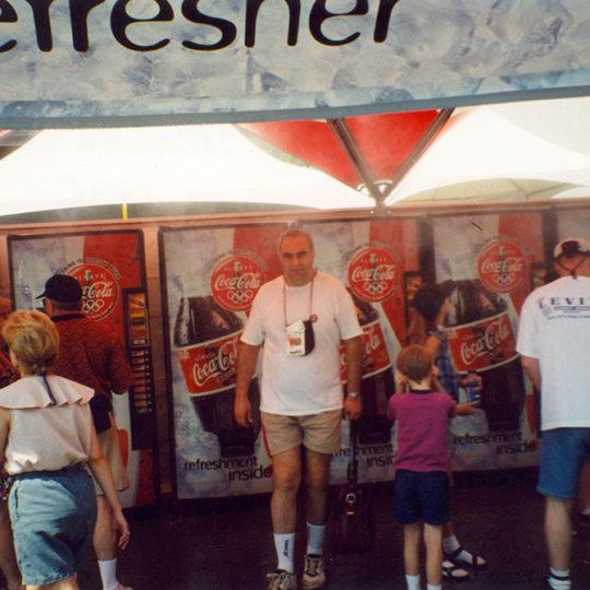 1996 Atlanta Olimpiyat Oyunları (ABD) İzleyicileri serinleten, çok ince su püskürten alan